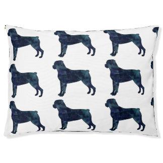 Rottweiler schwarze Watercolor-Silhouette Haustierbett