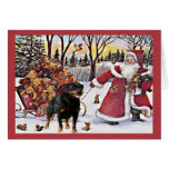 Rottweiler Weihnachtskarten-Sankt-Bären im Pferdes Grußkarte