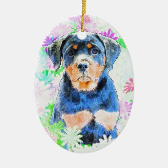 Rottweiler Welpe Ovales Keramik Ornament