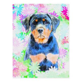 Rottweiler Welpe Postkarte