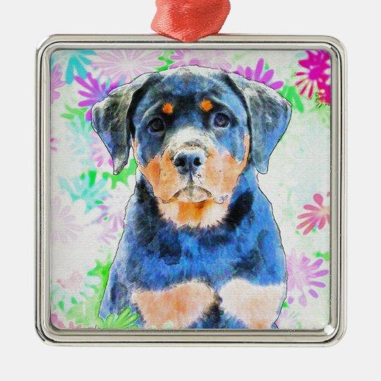 Rottweiler Welpe Quadratisches Silberfarbenes Ornament