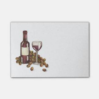 Rotwein-Glas, Flasche und Trauben-Post-it-Zettel Post-it Klebezettel
