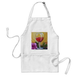 Rotwein-Glas u. rosa Rose Schürzen