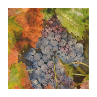 Rotwein-Trauben auf der Rebe Holzdruck