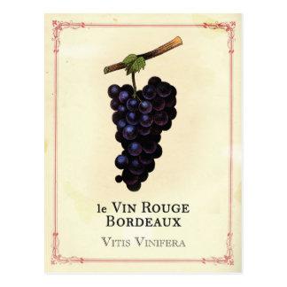 Rotwein-Trauben-Bordeaux Postkarte