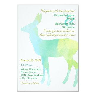 Rotwild-Aquarell - Einladung der Hochzeits-3x5