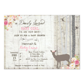 Rotwild-Mädchen-Babyparty-Einladung Karte