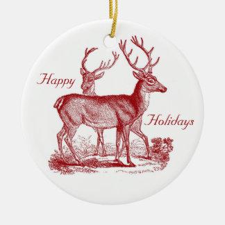 Rotwild-Ren im Holz-Gewohnheits-Weihnachten Keramik Ornament