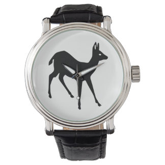 Rotwild-Silhouette Uhr