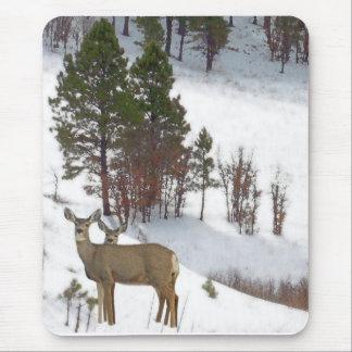 Rotwild-Tier-Tier-Schnee-Berg Mousepad