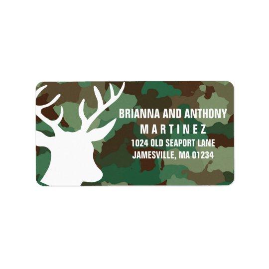Rotwild u. Camouflage-personalisierter Adressaufkleber