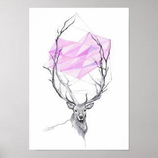 Rotwild und geometrisches Herz des Rosas, das Poster