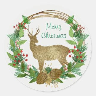 Rotwild-und Kiefern-Ast-frohe Weihnacht-Kranz Runder Aufkleber