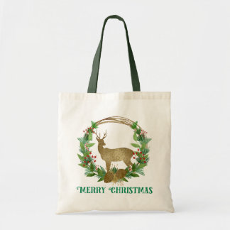 Rotwild-und Kiefern-Ast-frohe Weihnacht-Kranz Tragetasche