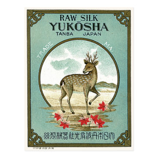 Rotwild-Vintager japanischer Silk Aufkleber Postkarte