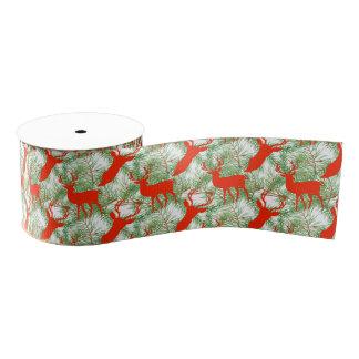 Rotwild-Weihnachtsmuster Ripsband