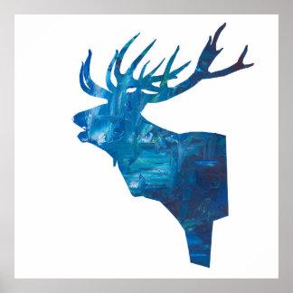 Rotwildhaupthirsch im Blau Poster