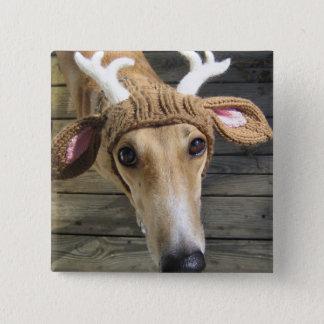 Rotwildhund - niedlicher Hund - whippet Quadratischer Button 5,1 Cm