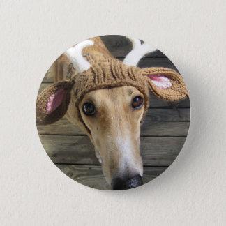 Rotwildhund - niedlicher Hund - whippet Runder Button 5,7 Cm