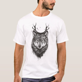 Rotwildwolf (Schwarzweiss) T-Shirt