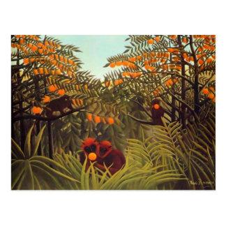 Rousseau Affen in der orange Waldung Postkarte