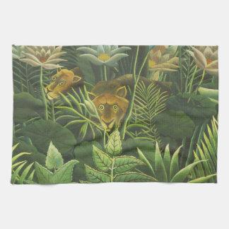 Rousseau Dschungel-tropischer Löwe-Kunst-Druck Geschirrtuch