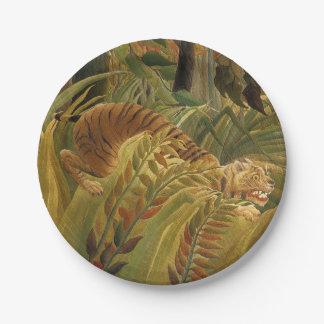 Rousseau Dschungel-tropischer Tiger-Kunst-Druck Pappteller