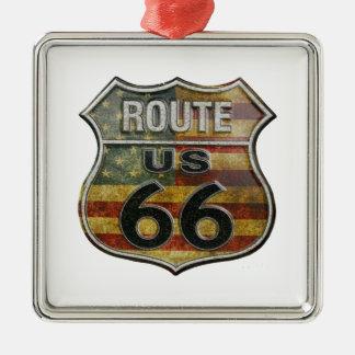 route66flag silbernes ornament