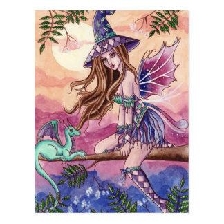 Rowenia - Hexe und Drache-Postkarte Postkarte