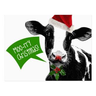 Rry Weihnachten MOO! Lustige Feiertags-Kuh in der Postkarten