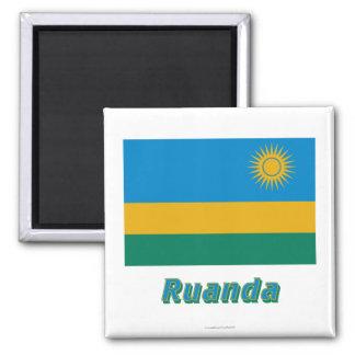 Ruanda Flagge MIT Namen Quadratischer Magnet
