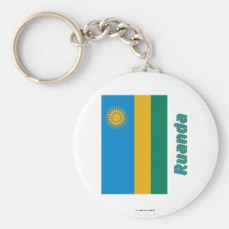 Ruanda Flagge MIT Namen Standard Runder Schlüsselanhänger
