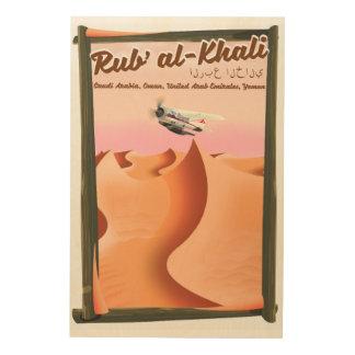 Rub Al Khali Saudi-Arabien Ferienplakat Holzdruck