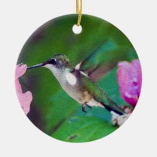 Rubin-Throated Kolibri-Verzierung Keramik Ornament