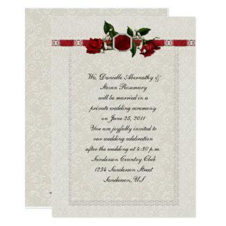 Rubin-und Rosen-Band-Posten-Hochzeit 12,7 X 17,8 Cm Einladungskarte