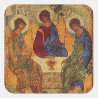 Rublev Dreiheit am Tisch Quadratischer Aufkleber