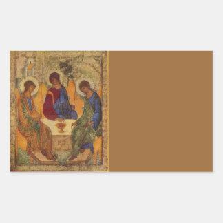 Rublev Dreiheit am Tisch Rechteckiger Aufkleber