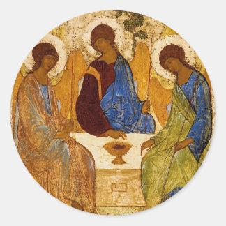 Rublev Dreiheit am Tisch Runder Aufkleber