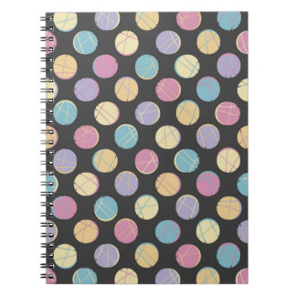 Rück Black colorful dots femenine notebook | Notiz Buch