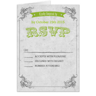 Rück Vintage Green wedding RSVP Karte