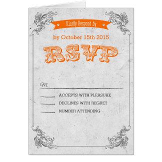 Rück Vintage orange wedding RSVP Karte