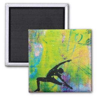 RückKriegers-Yoga-Mädchen-Quadrat-Magnet Quadratischer Magnet
