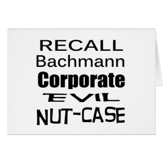 Rückruf-Michele Bachmann korporativer schlechter Karte