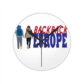 Rucksack Europa Runde Wanduhr