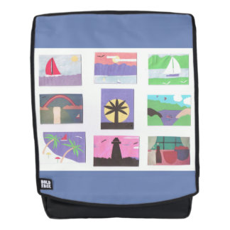 Rucksack mit bunten Natur-Entwürfen