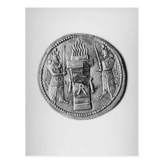 Rückseite einer Münze von Shapur II Postkarte