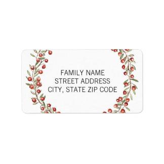 Rücksendeadresse-Aufkleber Weihnachtsbeerewreath-| Adressaufkleber