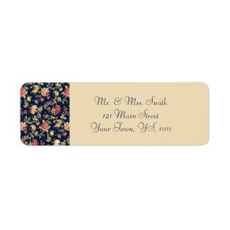 Rücksendeadresse für elegante Vintage blaue Rose Rücksendeetiketten