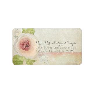 Rücksendeadresse-Vintage Pfingstrosen-Blüten-Blume Adressaufkleber
