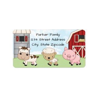 Rücksendeadressen-Aufkleber │ Barnyard-Bauernhof Adressaufkleber